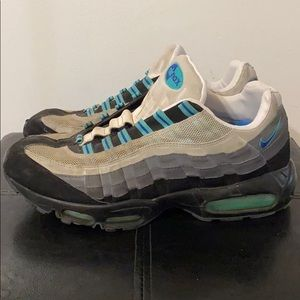 Nike Air Max 95 Gray, White & Turquoise Shoes - 12